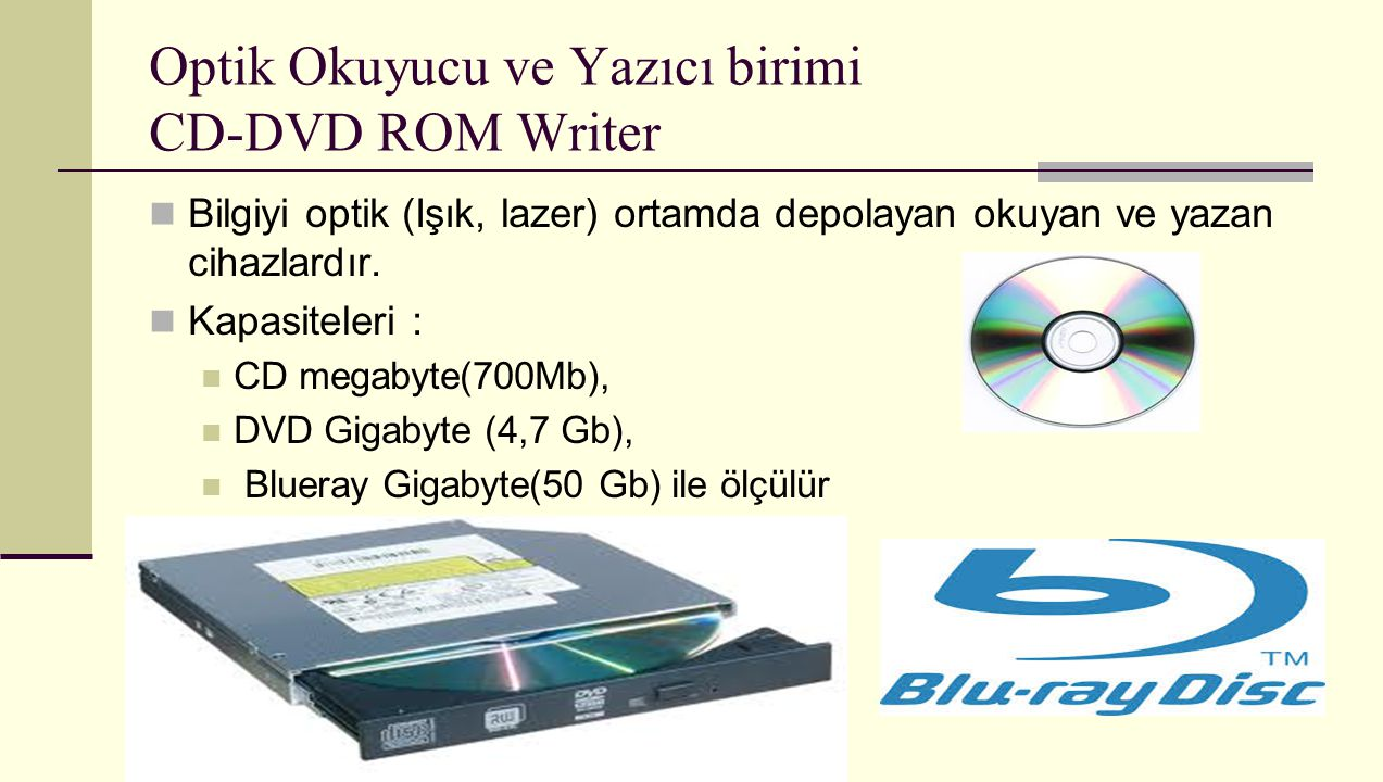 Optik Okuyucu ve Yazıcı birimi CD-DVD ROM Writer