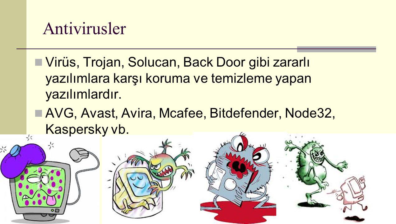 Antivirusler Virüs, Trojan, Solucan, Back Door gibi zararlı yazılımlara karşı koruma ve temizleme yapan yazılımlardır.