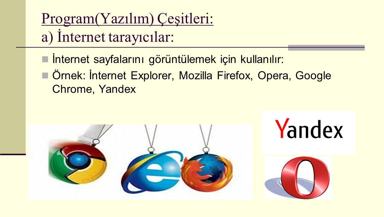 Program(Yazılım) Çeşitleri: a) İnternet tarayıcılar: