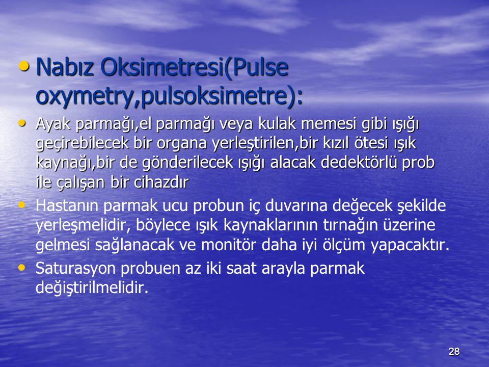 Nabız Oksimetresi(Pulse oxymetry,pulsoksimetre):