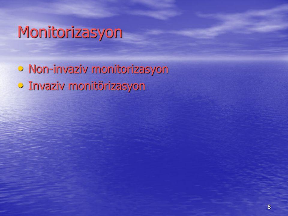 Monitorizasyon Non-invaziv monitorizasyon Invaziv monitörizasyon
