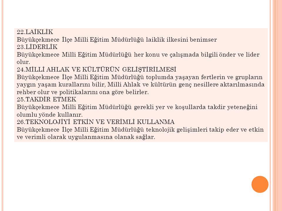 22.LAİKLİK Büyükçekmece İlçe Milli Eğitim Müdürlüğü laiklik ilkesini benimser. 23.LİDERLİK.