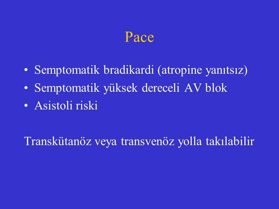 Pace Semptomatik bradikardi (atropine yanıtsız)