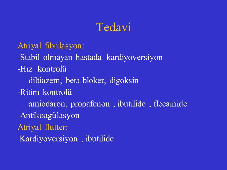 Tedavi Atriyal fibrilasyon: -Stabil olmayan hastada kardiyoversiyon