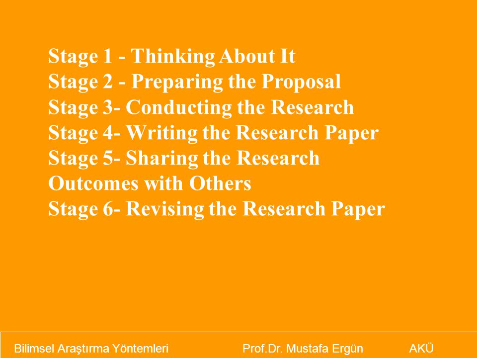 Stage 1 - Thinking About It Stage 2 - Preparing the Proposal