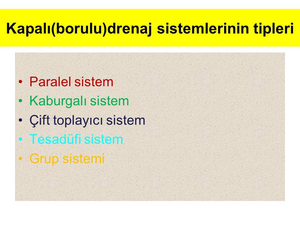 Kapalı(borulu)drenaj sistemlerinin tipleri