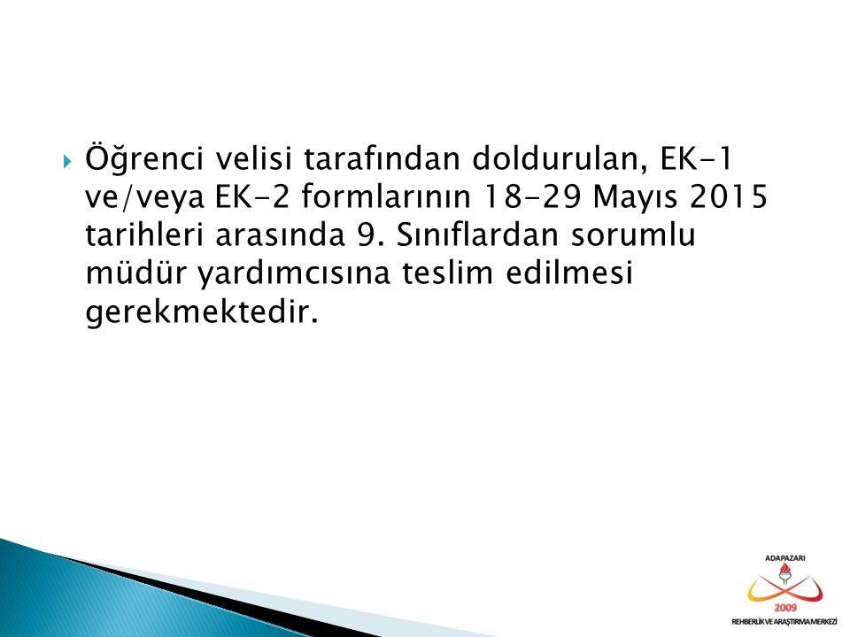 Öğrenci velisi tarafından doldurulan, EK-1 ve/veya EK-2 formlarının 18-29 Mayıs 2015 tarihleri arasında 9.