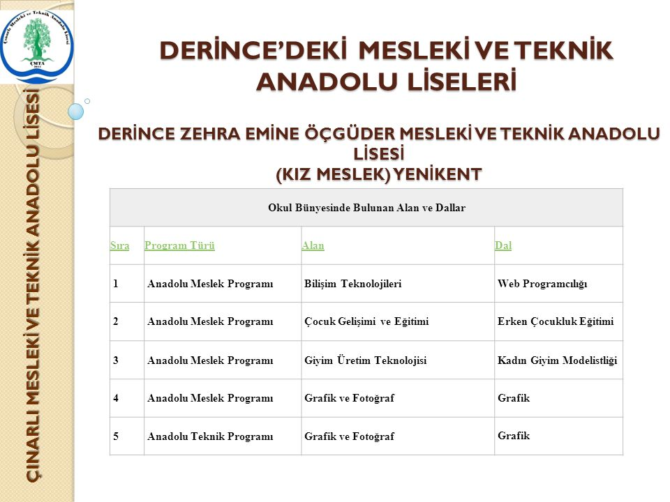 DERİNCE'DEKİ MESLEKİ VE TEKNİK ANADOLU LİSELERİ