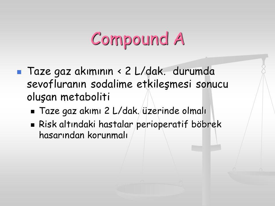 Compound A Taze gaz akımının < 2 L/dak. durumda sevofluranın sodalime etkileşmesi sonucu oluşan metaboliti.