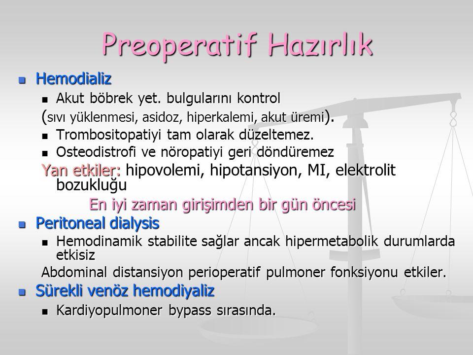 Preoperatif Hazırlık Hemodializ