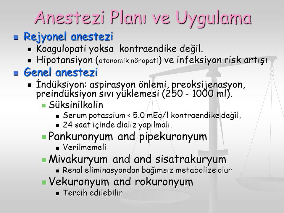 Anestezi Planı ve Uygulama
