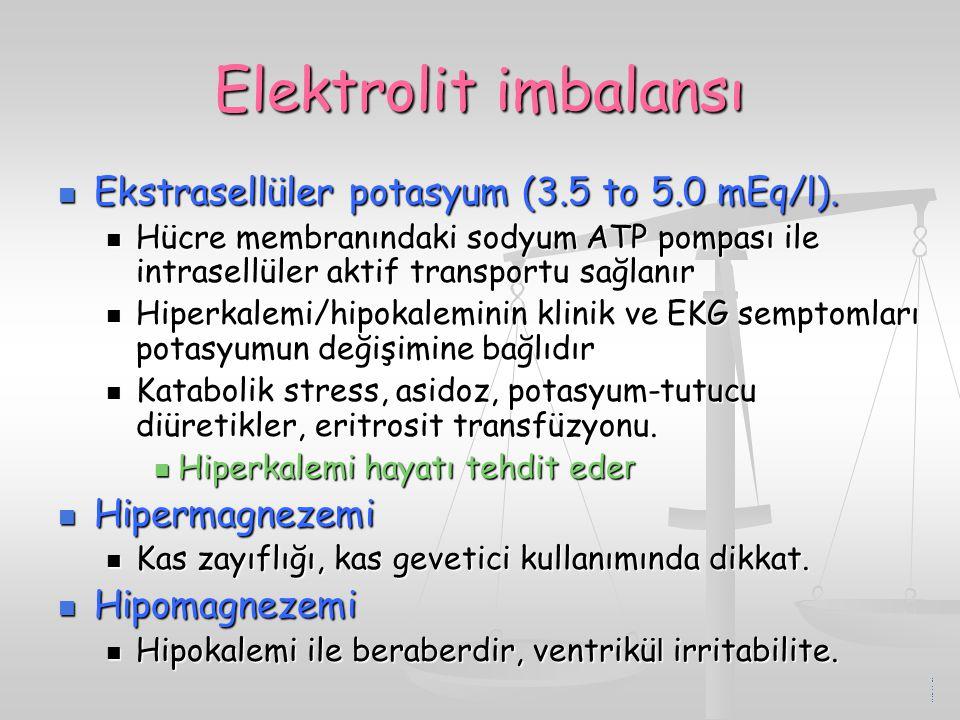 Elektrolit imbalansı Ekstrasellüler potasyum (3.5 to 5.0 mEq/l).