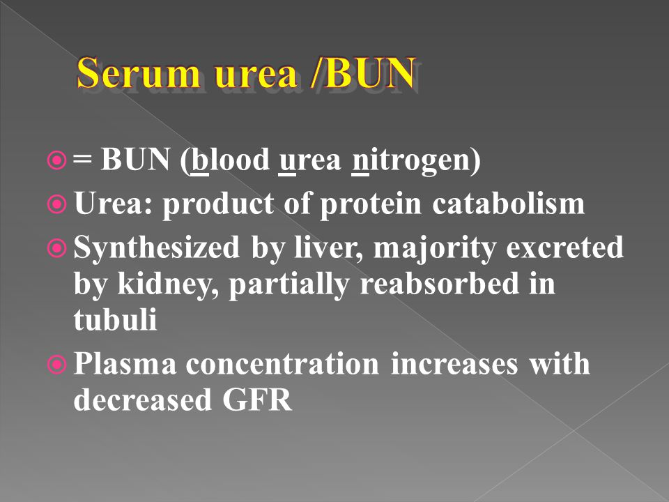 Serum urea /BUN = BUN (blood urea nitrogen)