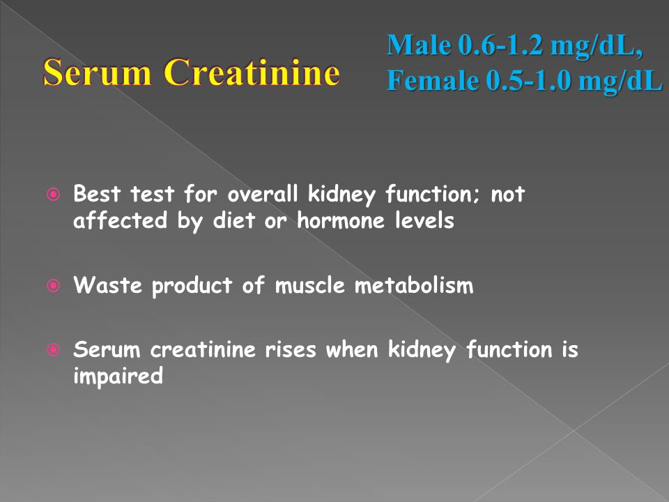 Serum Creatinine Male 0.6-1.2 mg/dL, Female 0.5-1.0 mg/dL