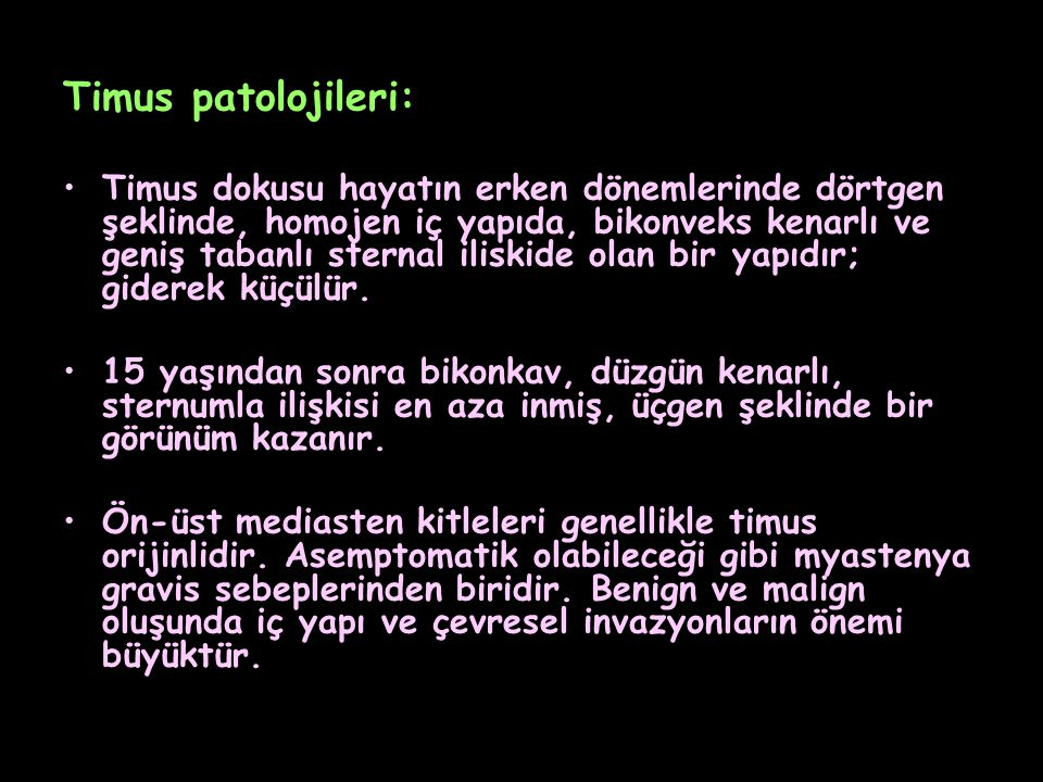 Timus patolojileri: