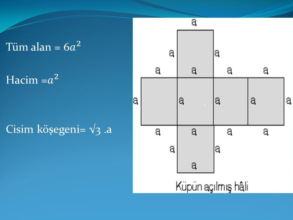 Tüm alan = 6 𝑎 2 Hacim = 𝑎 2 Cisim köşegeni= √3 .a
