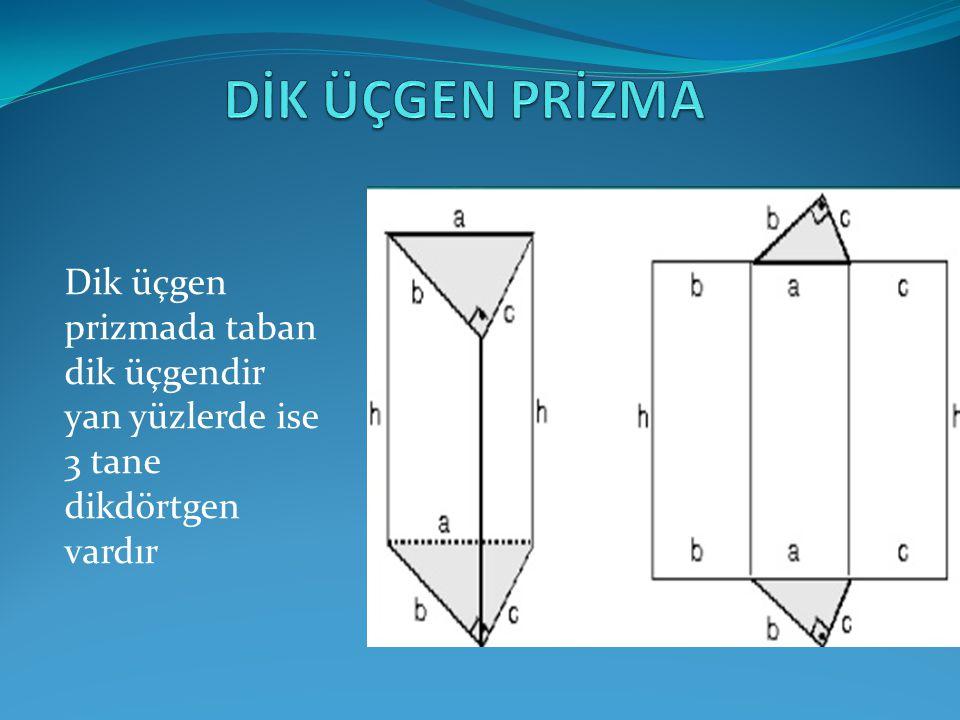 DİK ÜÇGEN PRİZMA Dik üçgen prizmada taban dik üçgendir yan yüzlerde ise 3 tane dikdörtgen vardır
