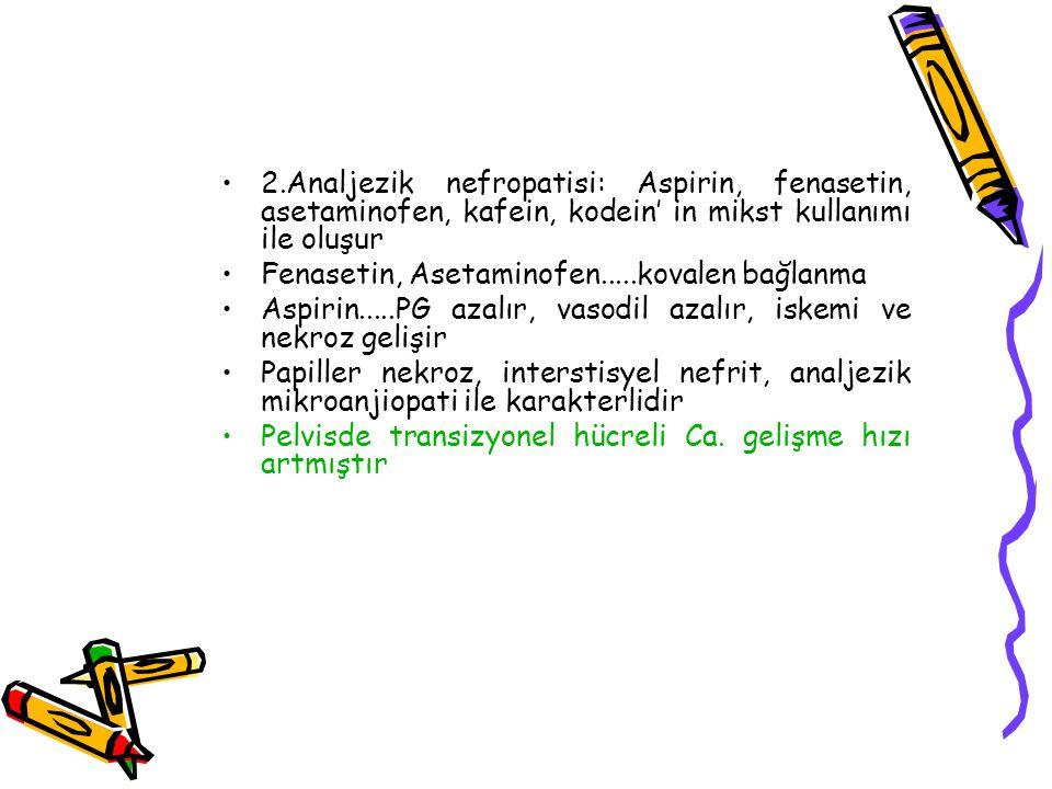 2.Analjezik nefropatisi: Aspirin, fenasetin, asetaminofen, kafein, kodein' in mikst kullanımı ile oluşur