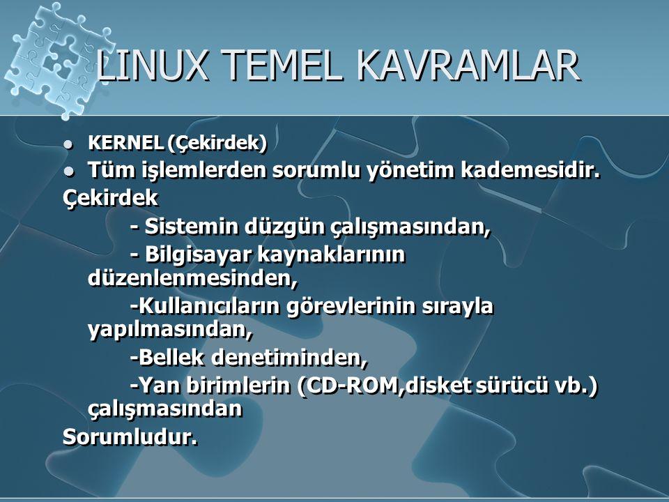 LINUX TEMEL KAVRAMLAR Tüm işlemlerden sorumlu yönetim kademesidir.