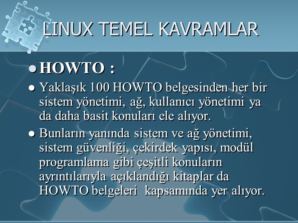 LINUX TEMEL KAVRAMLAR HOWTO :