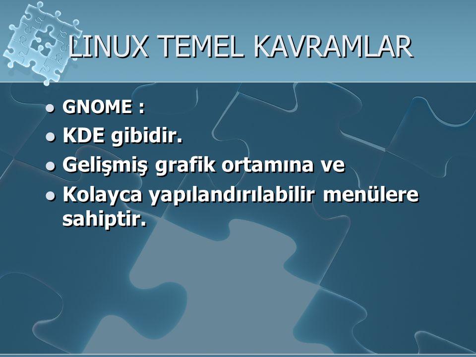 LINUX TEMEL KAVRAMLAR KDE gibidir. Gelişmiş grafik ortamına ve