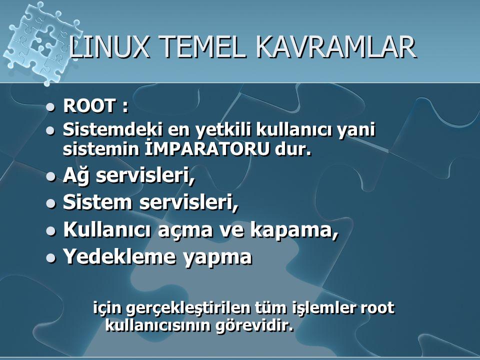 LINUX TEMEL KAVRAMLAR Ağ servisleri, Sistem servisleri,