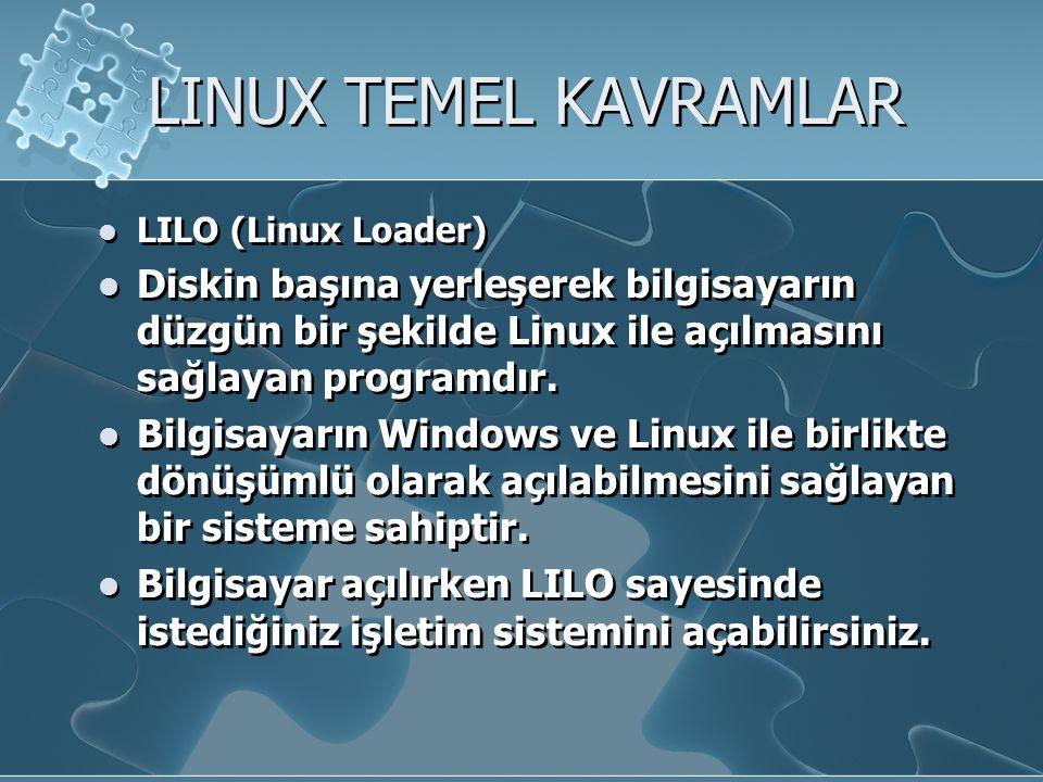 LINUX TEMEL KAVRAMLAR LILO (Linux Loader) Diskin başına yerleşerek bilgisayarın düzgün bir şekilde Linux ile açılmasını sağlayan programdır.