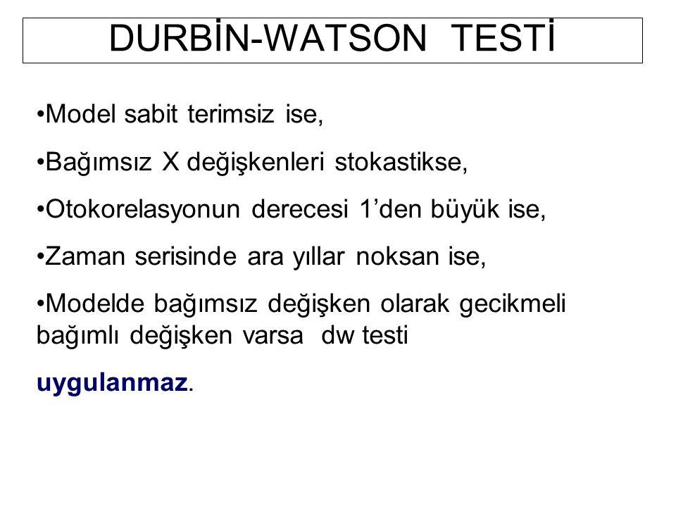 DURBİN-WATSON TESTİ Model sabit terimsiz ise,