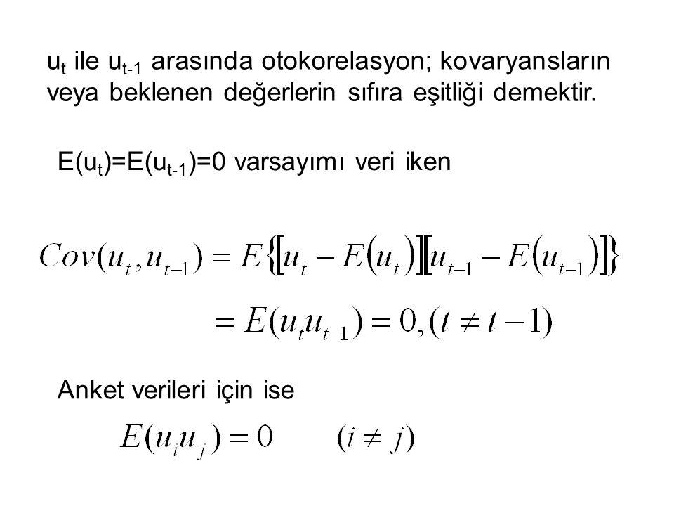 ut ile ut-1 arasında otokorelasyon; kovaryansların veya beklenen değerlerin sıfıra eşitliği demektir.