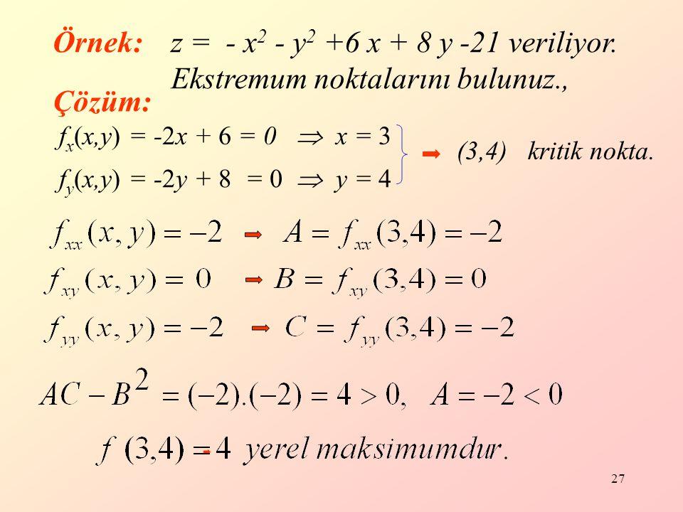 Örnek: z = - x2 - y2 +6 x + 8 y -21 veriliyor. Ekstremum noktalarını bulunuz., Çözüm: fx(x,y) = -2x + 6 = 0  x = 3.