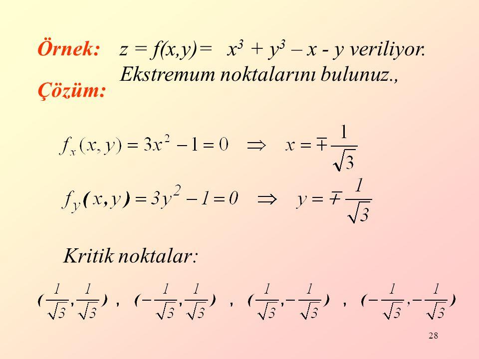 Örnek: z = f(x,y)= x3 + y3 – x - y veriliyor.