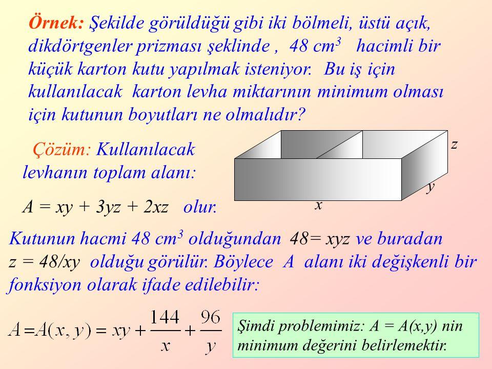 Çözüm: Kullanılacak levhanın toplam alanı: A = xy + 3yz + 2xz olur.