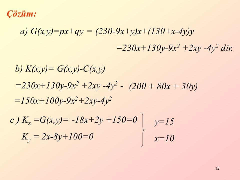 Çözüm: a) G(x,y)=px+qy = (230-9x+y)x+(130+x-4y)y. =230x+130y-9x2 +2xy -4y2 dir. b) K(x,y)= G(x,y)-C(x,y)