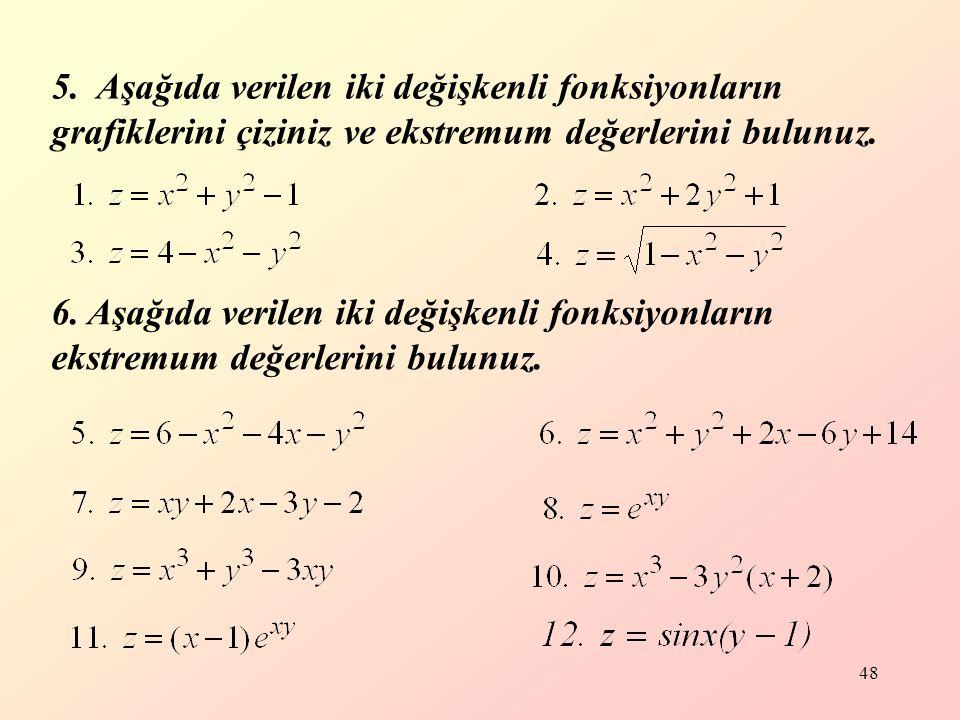 5. Aşağıda verilen iki değişkenli fonksiyonların grafiklerini çiziniz ve ekstremum değerlerini bulunuz.