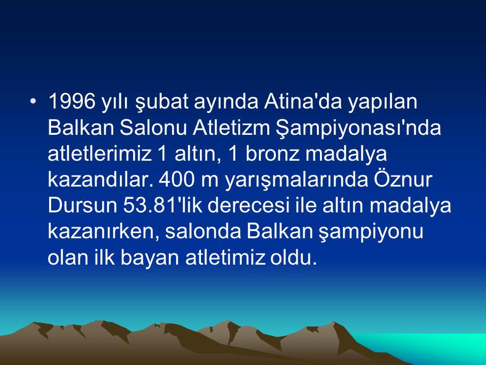 1996 yılı şubat ayında Atina da yapılan Balkan Salonu Atletizm Şampiyonası nda atletlerimiz 1 altın, 1 bronz madalya kazandılar.