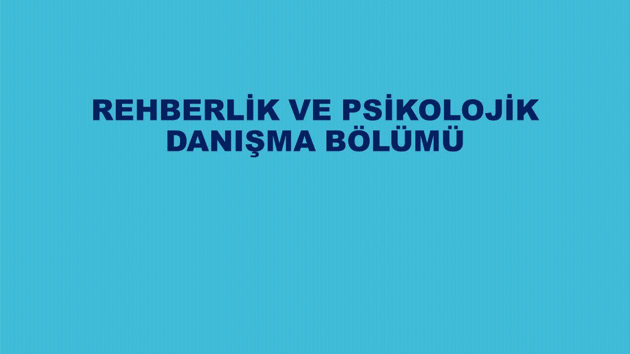 REHBERLİK VE PSİKOLOJİK DANIŞMA BÖLÜMÜ