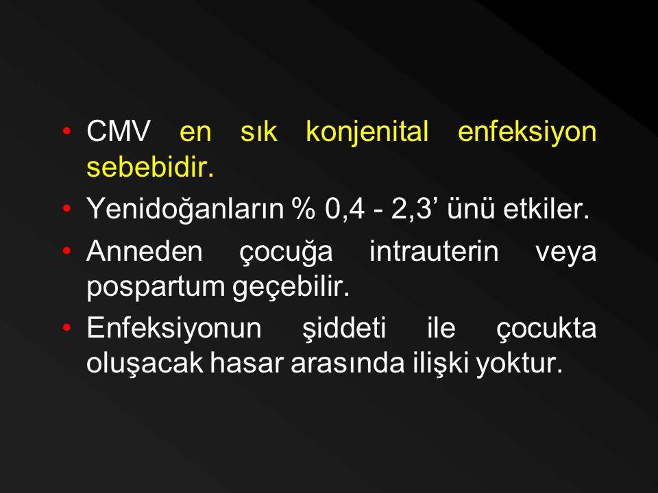 CMV en sık konjenital enfeksiyon sebebidir.