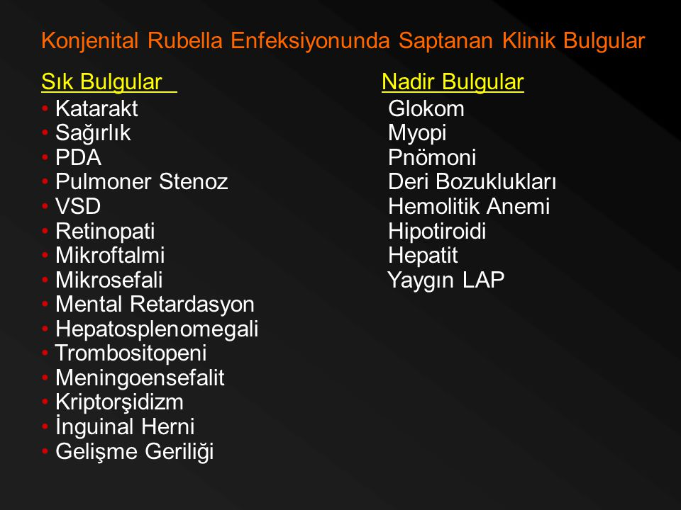 Konjenital Rubella Enfeksiyonunda Saptanan Klinik Bulgular