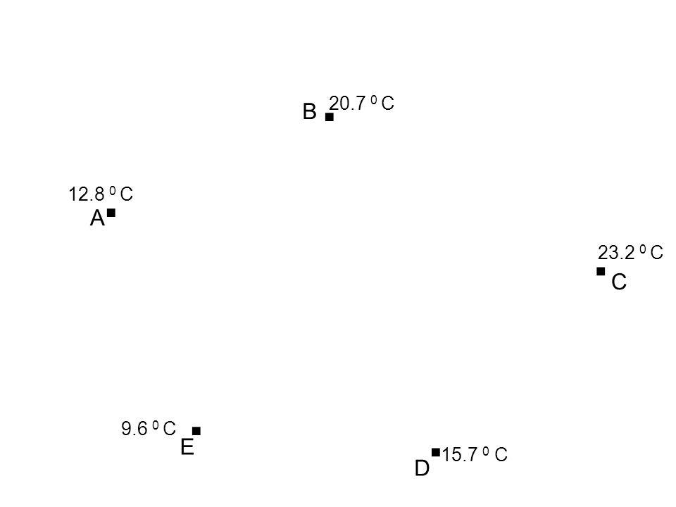 . 20.7 0 C B . 12.8 0 C A . 23.2 0 C C . . 9.6 0 C E 15.7 0 C D