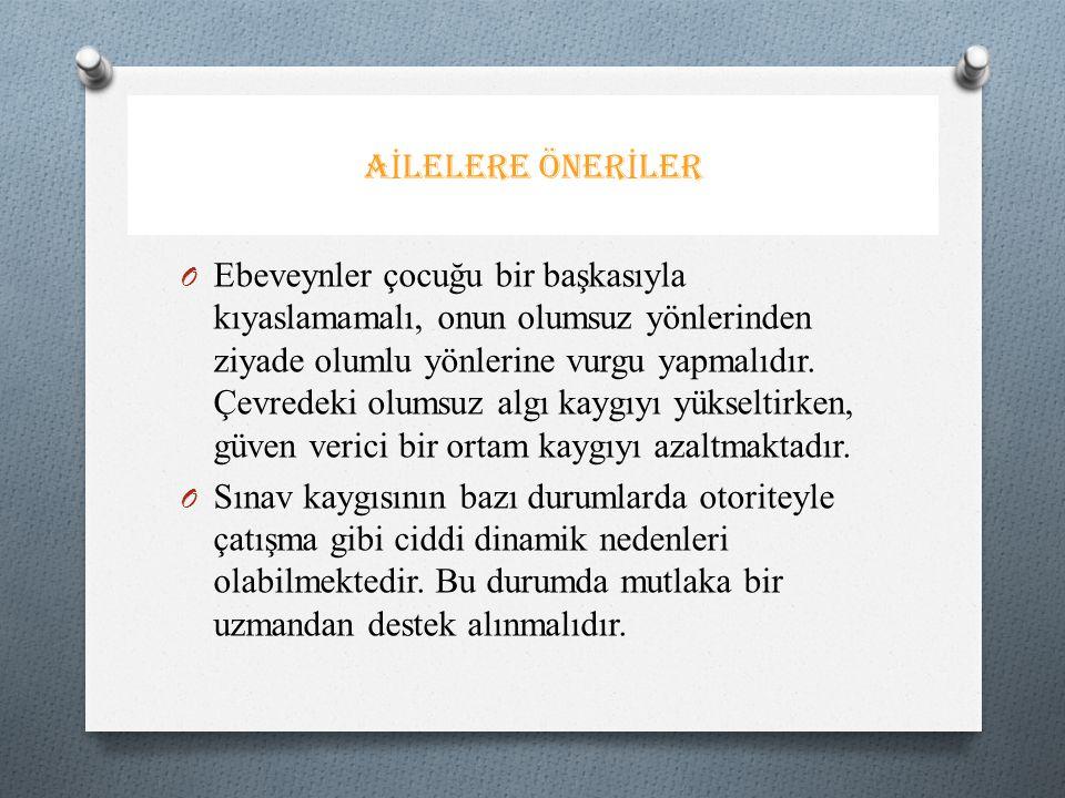 AİLELERE ÖNERİLER