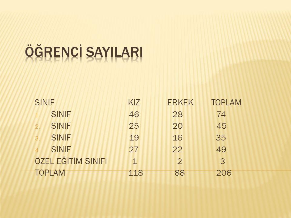 ÖĞRENCİ SAYILARI SINIF KIZ ERKEK TOPLAM SINIF 46 28 74 SINIF 25 20 45