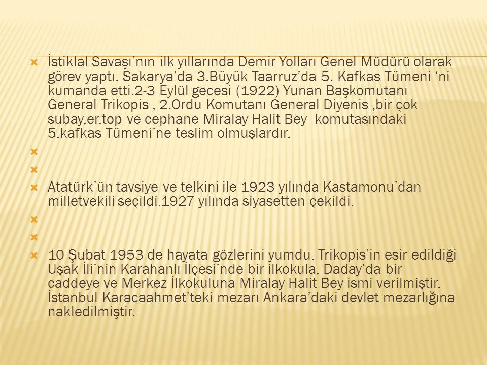 İstiklal Savaşı'nın ilk yıllarında Demir Yolları Genel Müdürü olarak görev yaptı. Sakarya'da 3.Büyük Taarruz'da 5. Kafkas Tümeni 'ni kumanda etti.2-3 Eylül gecesi (1922) Yunan Başkomutanı General Trikopis , 2.Ordu Komutanı General Diyenis ,bir çok subay,er,top ve cephane Miralay Halit Bey komutasındaki 5.kafkas Tümeni'ne teslim olmuşlardır.