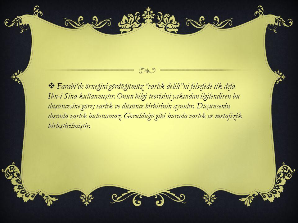 Farabi'de örneğini gördüğümüz varlık delili ni felsefede ilk defa İbn-i Sina kullanmıştır.