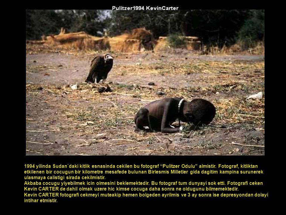 1994 yilinda Sudan`daki kitlik esnasinda cekilen bu fotograf Pulitzer Odulu almistir. Fotograf, kitliktan