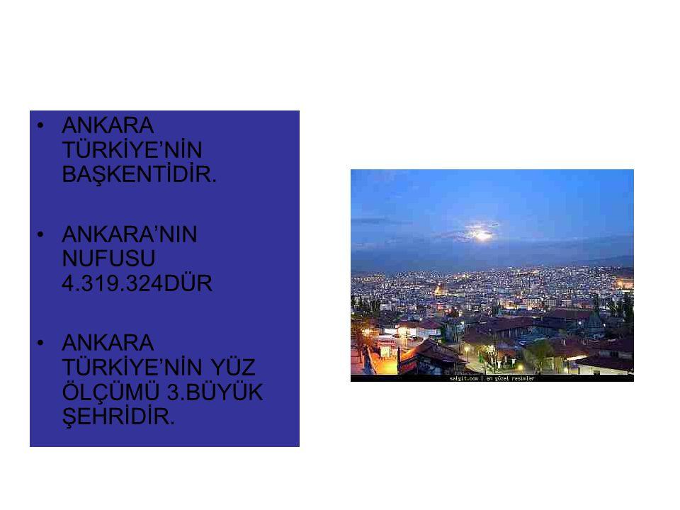 ANKARA TÜRKİYE'NİN BAŞKENTİDİR.