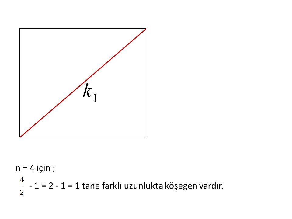 - 1 = 2 - 1 = 1 tane farklı uzunlukta köşegen vardır.