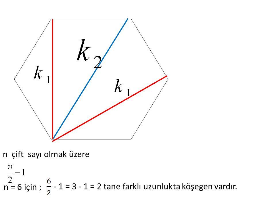 - 1 = 3 - 1 = 2 tane farklı uzunlukta köşegen vardır.