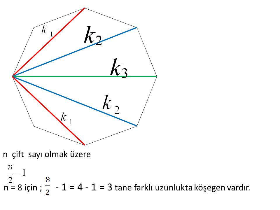 k 2 3 - 1 = 4 - 1 = 3 tane farklı uzunlukta köşegen vardır.