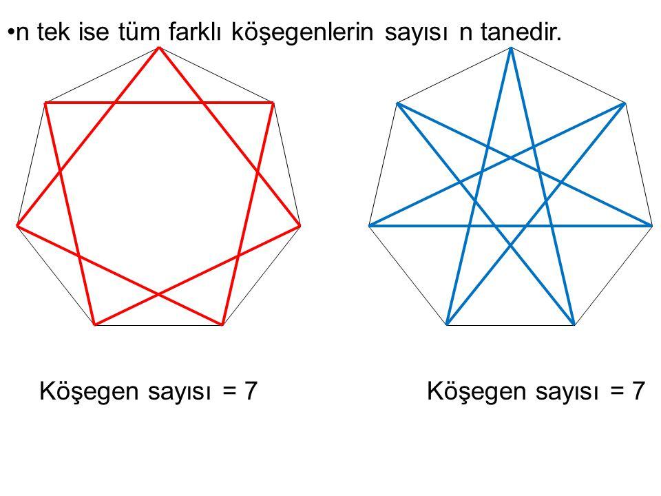 n tek ise tüm farklı köşegenlerin sayısı n tanedir.