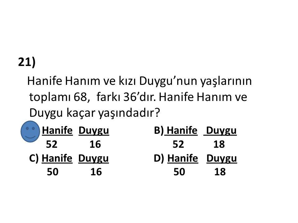 21) Hanife Hanım ve kızı Duygu'nun yaşlarının toplamı 68, farkı 36'dır. Hanife Hanım ve Duygu kaçar yaşındadır
